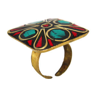 Square Shape Red Green Cut Stones Fashion Ring, adjustable