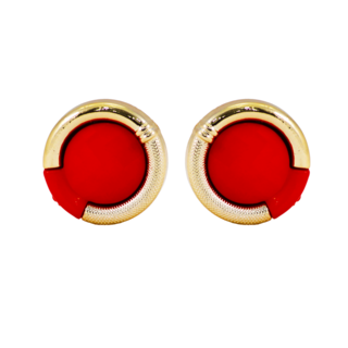 Trendy Fashion Stud Earrings In Red And Golden For Girls