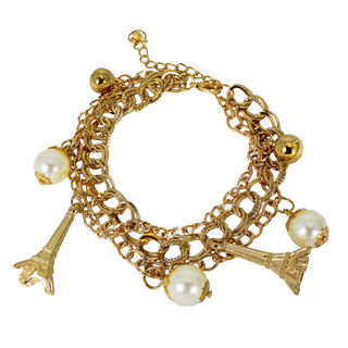 Dangling Pearl With Gold Tone Fashion Bracelet For Women, free size
