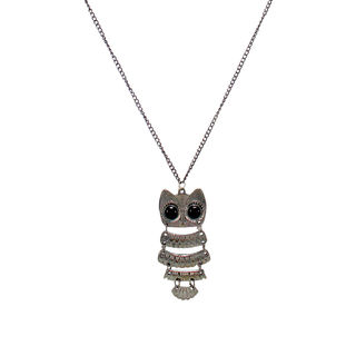 Silver Tone Owl Pendant With Chain