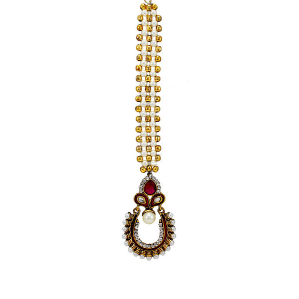 Pink Maang Tikka With Designer Pearl Chain