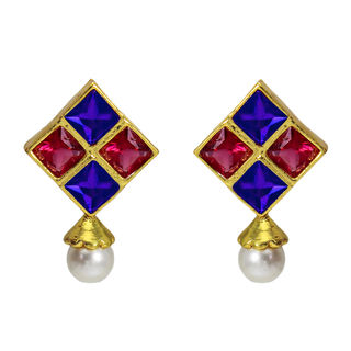 Pink And Blue Square Studs With Dangling Pearl