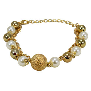 Golden And White Pearl Adorned Chain Bracelet For Girls, free size