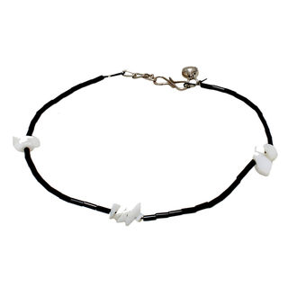 Black Beads Anklet With White Stones Design