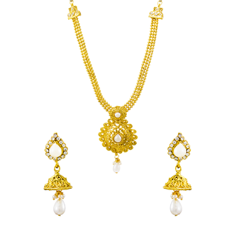 Party Wear Gold Necklace Set With Pearl For Women