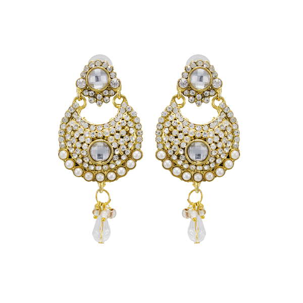 Ethnic Gold Tone Earrings Studded With Pearls For Women