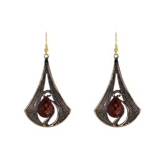 Metallic Brown Dangler And Drop Earrings For Girls