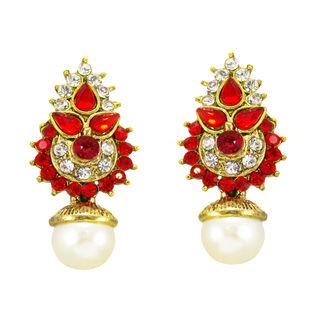 Orange And Golden Ethnic Stud Earrings For Women