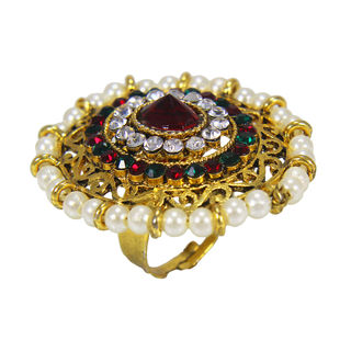 Gold Tone Pearl And Multi Color Stone Embellished Ring, adjustable