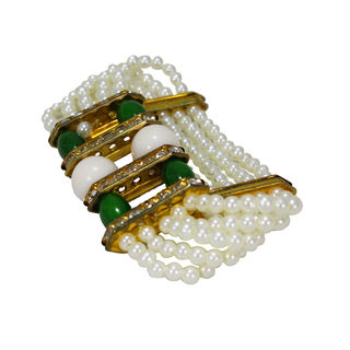 Pearl Adorned Heavy Bracelet In Green And White For Girls, adjustable
