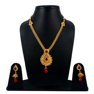 Maroon And Golden Necklace Set With Jhumki Earrings