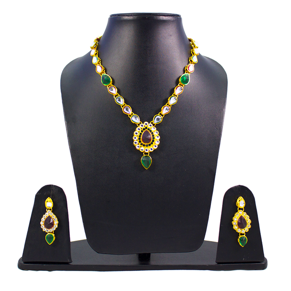 Stunning Kundan Necklace Set With Red Green Stones