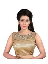 EthnicFiesta Embroidery Banglori Silk Plus Net Blouse (Charly07), beige