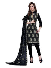 Minu Suits Cotton Black Embroidered Ethnic Wear Suit (Shabana_ 1005)