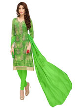 Minu Suits Cotton Green Embroidered Ethnic Wear Suit (Fusion-1007)