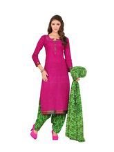 Minu Suits Cotton Printed Salwar Suits Fully Unstitched Dress Material (PakistaniPatyala_ 1003), pink