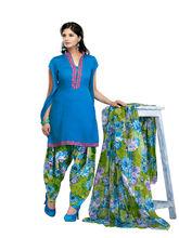 Minu Suits Sea Casual Churidaar Kurta With Dupatta Unstitch (Satinpatyala_ 5012), blue