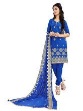 Minu Suits Cotton Blue Emboridered Ethnic Wear Suit (Moonlight_ 1007)