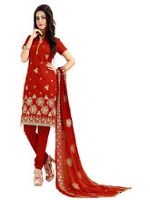 Minu Suits Cotton Red Emboridered Ethnic Wear Suit (Moonlight_ 1006)