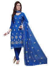 Minu Suits Cotton Blue Embroidered Ethnic Wear Suit (Shabana_ 1007)