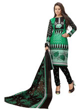 Minu Suits Cotton Green Printed Ethnic Wear Suit (Kasturi_ 1011)