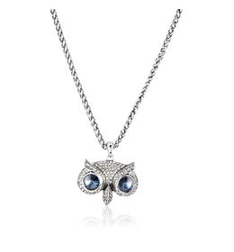 Shaze Silver Ge00434 Owl Necklace