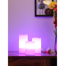 LED Wax Candle with Remote Set of 3, White