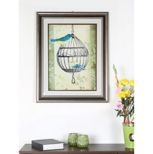 Birds on Oval Cage Double Border Painting - @home by Nilkamal, Multicolor