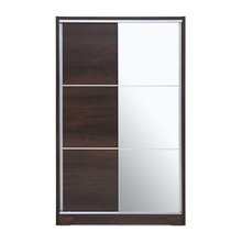 Emmette Medium Sliding Wardrobe with Mirror - @home by Nilkamal, Dark Walnut