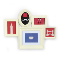 5 Royal Cluster Collage Photo Frame - @home by Nilkamal, Cream