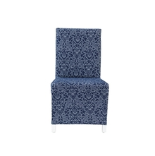 Jacquard Damask Knit Chair Cover, Indigo