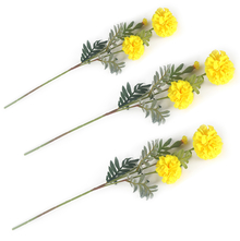 Marigold Flower Stick Set of 3 - @home by Nilkamal, Yellow