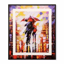Lovers in an Umbrella 35 cm x 41 cm Painting - @home by Nilkamal, Orange