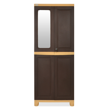 Nilkamal FB1 Freedom Cupboard with 1 Mirror - Whether Brown and Biscuit