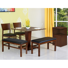Glaze 1+ 2 Chairs+ 2 Benches+ Storage Cabinet Dining Set - Walnut