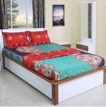 Suzani 220 cm x 240 cm Double Bedding Set - @home by Nilkamal, Sea green