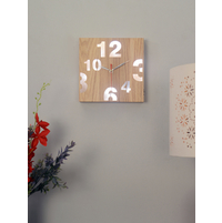 LED Wall Clock 22X4X22CM Square, Wooden
