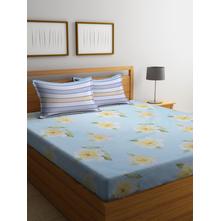 Roses 250 cmx 274 cm Double Bedsheet, Sea Green