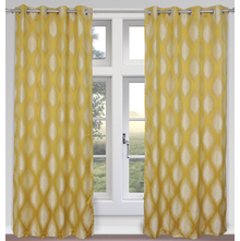 Damask 127 cm x 213 cm Door Curtain Set of 2 - @home by Nilkamal, Yellow