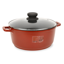Bergner Diecast Cook n Serve Pot with Lid - @home by Nilkamal, Red