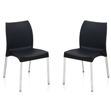 Nilkamal Novella 07 without Arm & Cushion Chair Set of 2, Black