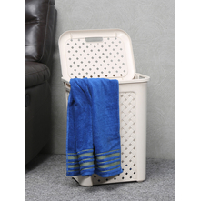 50 litre Laundry Basket with Lid, Beige