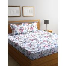 Floral Art 250 cm x 274 cm Double Bedsheet, White