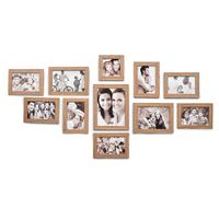 Set of 11 Photo Frame Combo, Oak