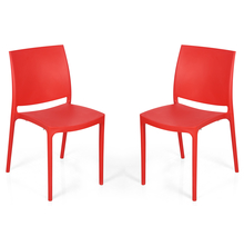 Nilkamal Novella 08 without Arm & Cushion Chair Set of 2, Red