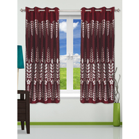 Leaf 112 cm x 152 cm Window Curtain Set of 2 - @home by Nilkamal, Maroon
