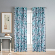 Digi Sketch floral 112 cm x 274 cm XL Door Curtain Set of 2 -@home by Nilkamal, Seagreen