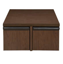 Trendy Center Table Set with Stool, Walnut
