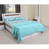 Gingham 152 cm x 228 cm Single Reversible Quilt - @home by Nilkamal, Sea Green & Grey