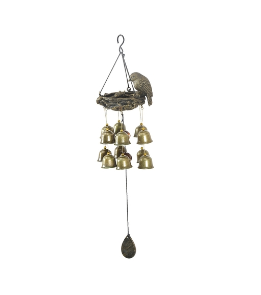 Hanging Birds Nest Large Windchime - @home by Nilkamal, Gold